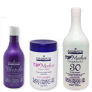 Kit Matizador Blonde Platinum + Pó Descolorante + Oxidante 30 Nuance