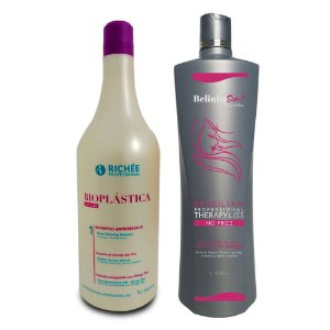 Belinha Sim Escova Progressiva Selagem Térmica + Shampoo Richée Bioplástica 1000ml