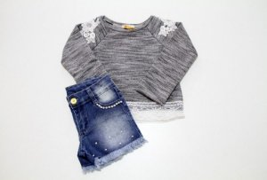 conjunto shorts jeans e moletom