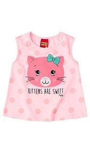 camiseta gatinha fofa rosa