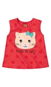 camiseta gatinha fofa vermelha