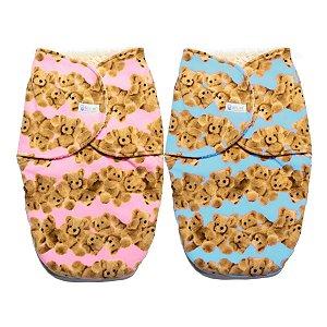 Cueiro Forrado Enroladinho Saco de Dormir Para Bebê Sherpa Soft Ursinhos