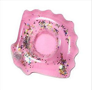 Boia Porta Copo Concha Rose Gold com Glitter