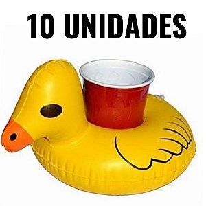 Kit Boia Porta Copos Pato Inflável 10 Unidades Piscina e Festa