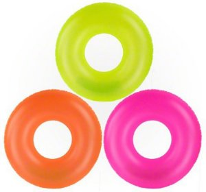 Boia de Piscina Circular Inflável Neon 90 cm
