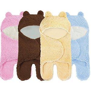 Cueiro Enroladinho Saco De Dormir Bebê Cobertor Ursinho Sherpa