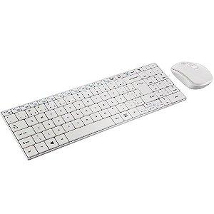 Teclado e Mouse Sem Fio Multimídia Slim Branco Multilaser - TC203