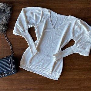 Blusa Tricot Modal Gola V