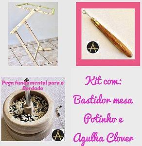 Agulha P/ Bordar Clover Kantan Couture + Potinho Giratório + BASTIDOR MESA