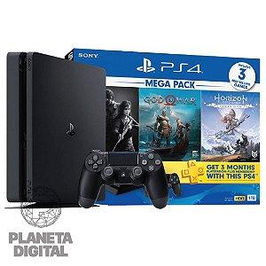 Console Playstation 4 Slim 1TB Mega Pack 3 Jogos Fantásticos - Ghost of Tsushima + God of War + Ratchet & Clank + PSN Plus 3 Meses - SONY
