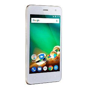 """Smartphone MS45S Dourado Tela 4.5"""" Câmera 5MP 3G Quad Core 8gb P9042 - Multilaser"""