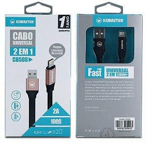Cabo Usb 2 Em 1 Lightning/ Micro Usb Cb-508 Kimaster