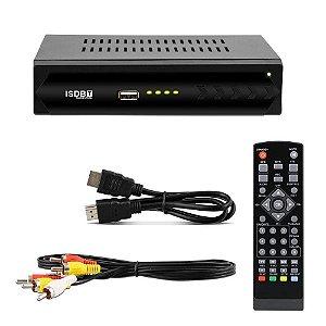 Conversor TV Sinal Digital ISDB-T Set Top Box Full HD HDMI RCA USB Receptor Gravador Digital MP3 WMA