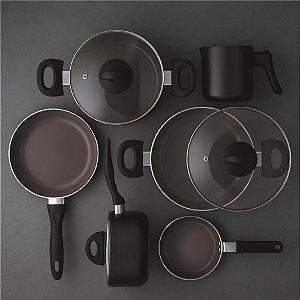 Jogo de Panelas Brinox Ceramic Life Smart Plus Preto em Alumínio 6 Peças - Brinox