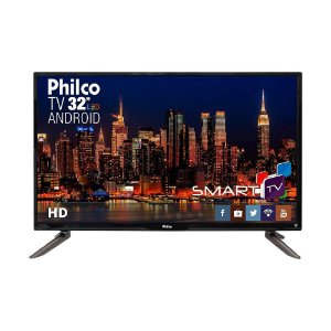 "Smart TV LED 32"" HD Philco PH32C10DSGWA com Android, Wi-Fi Integrado, ApToide, Som Surround, Midiacast, Entradas HDMI e USB"