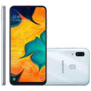 "Smartphone Samsung Galaxy A30 64GB Branco 4G Tela 6.4"" Câmera Dupla 16MP Selfie 16MP Dual Chip Android 9.0"