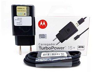 Carregador Turbo Motorola 15w Cabo Tipo Micro Usb -  Original