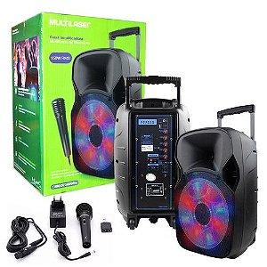 Caixa De Som Multiuso Amplificada Bluetooth Sp219 Multilaser 150w Microfone Recarregável Usb Sd Fm