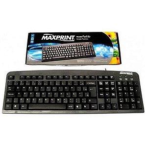 Teclado Com Fio USB Padrão - Preto - Maxprint 608145