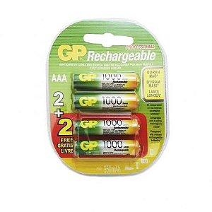 Pilha Recarregável GP Com 4 Unidades AAA 1000mAh Palito Professional Original Blister GPRHC103C132
