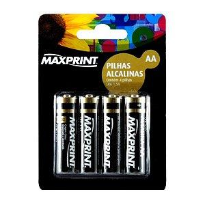 Pilha Alcalina AA  Blister Com 4 Unidades 1,5 Volts - Maxprint