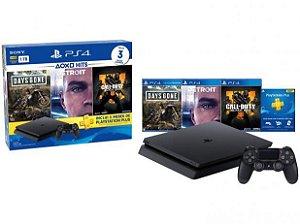 Console Playstation 4 1TB Slim Com Controle Ps4 Sem Fio com 3 jogos