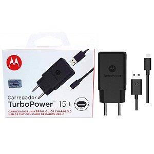 Carregador de Parede Motorola Turbo Power 15W 100-240V com Cabo USB Tipo-C Preto Original - Motorola