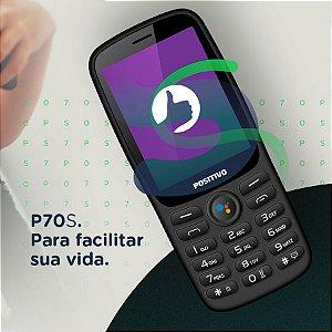 Celular Positivo P70S Preto - Tela 2.8'' 4GB Dual Chip 3G 512MB RAM Wi-Fi