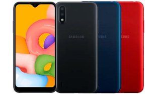 "Smartphone Samsung Galaxy A01 32GB Octa-Core 2GB RAM Tela 5,7"" Câm. Dupla + Câm. Selfie 5MP"