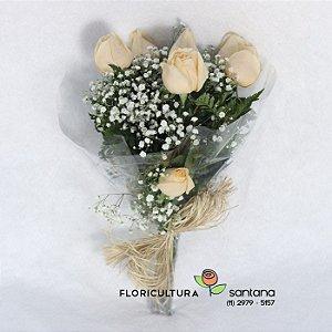 Elegance 6 Rosas Champanhe