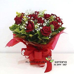 Buquê na Caixa com 12 rosas