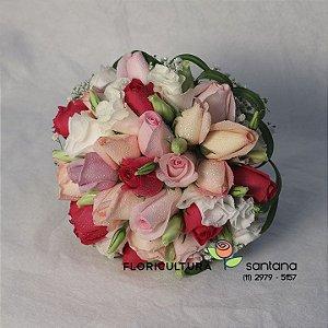 Buquê de Noiva Redondo Rosas Coloridas