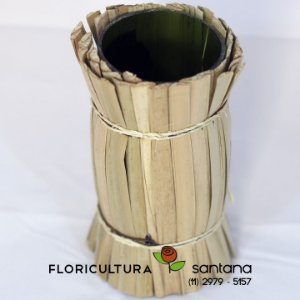 Vaso de vidro revestido de palha 16,4x7,4x7,4cm