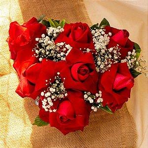 Coração de Rosas Abertas caixa madeira