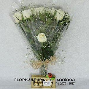 Buquê de Rosas Brancas Elegance e Ferrero Rocher