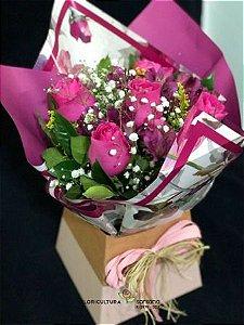 Buquê na Caixa com 6 Rosas Pink