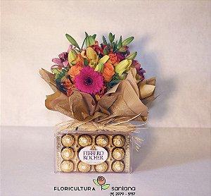 Arranjo Mix de Flores com Ferrero Rocher
