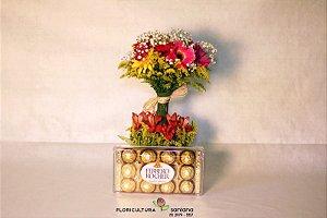 Topiara Gerbera com Ferrero Rocher