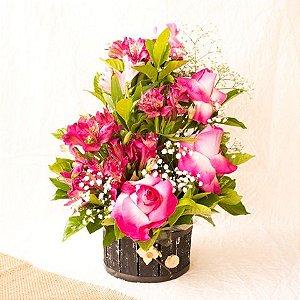Arranjo Astromelias e Rosas - ROSA PINK