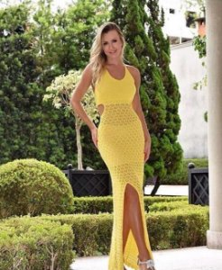 Vestido Amarelo Trico