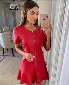Vestido Vermelho Couro Eco