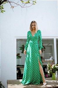 Vestido longo Póa Rafinha verde