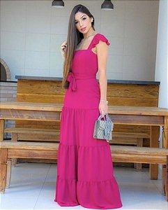 Vestido longo Fuscia