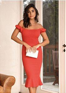 Vestido Mid Linho vermelho