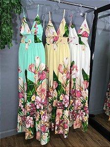 Vestido Longo Flores Verde