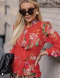 Blusa Estampada Red Flores