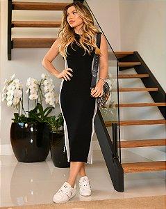 Vestido Mid Black lateral mescla