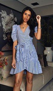 Vestido Tricoline Azul