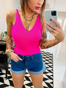 Cropped Trico Rosa Fluor
