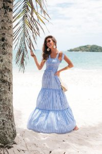 Vestido Longo Xadrez Azul